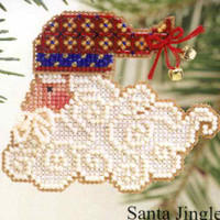 Santa Jingles Beaded Ornament Kit Mill Hill 2002 Charmed Santa Faces