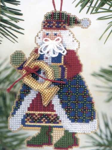 French Horn Santa Bead Ornament Kit Mill Hill 2002 Musical Santas