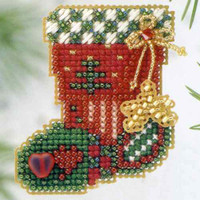 Hearts & Star Stocking Bead Ornament Kit Mill Hill 2003 Winter Holiday