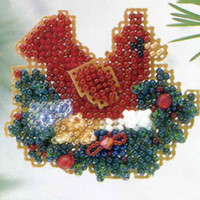 Christmas Nest Cross Stitch Ornament Kit Mill Hill 2003 Winter Holiday
