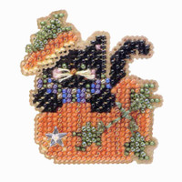 Black Kitty Magic Beaded Halloween Kit Mill Hill 2004 Autumn Harvest