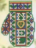 Noel Heart Beaded Cross Stitch Kit Mill Hill 2005 Mitten Ornaments