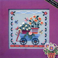 Welcome Wagon Cross Stitch Kit Mill Hill 2006 Buttons & Beads Spring
