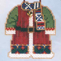 Santa's Coat Beaded Ornament Kit Mill Hill 2006 Santa's Closet