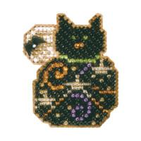 Magic Kitty Halloween Bead Ornament Kit Mill Hill 2006 Autumn Harvest