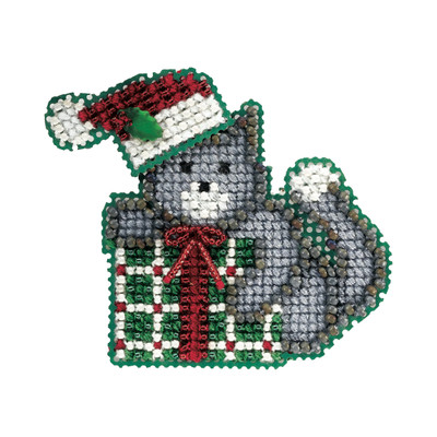 Kitty's Gift Bead Christmas Ornament Kit Mill Hill 2006 Winter Holiday