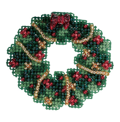 Holly Wreath Bead Christmas Ornament Kit Mill Hill 2006 Winter Holiday