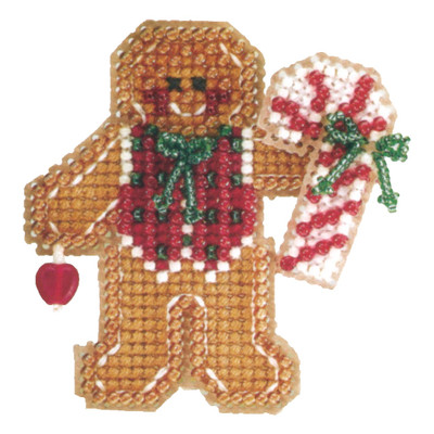 Gingerbread Boy Bead Ornament Kit Mill Hill 2006 Winter Holiday