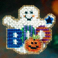 Boo Ghost Halloween Beaded Ornament Kit Mill Hill 2006 Autumn Harvest