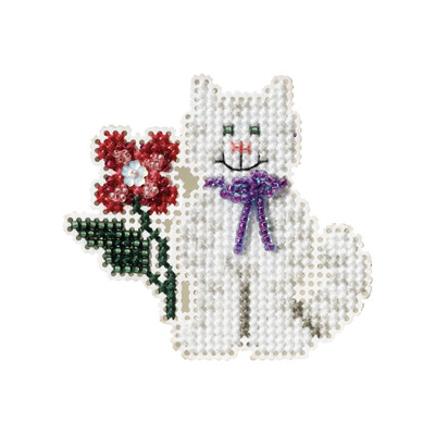 Tropical Kitty Beaded Cross Stitch Kit Mill Hill 2007 Spring Bouquet