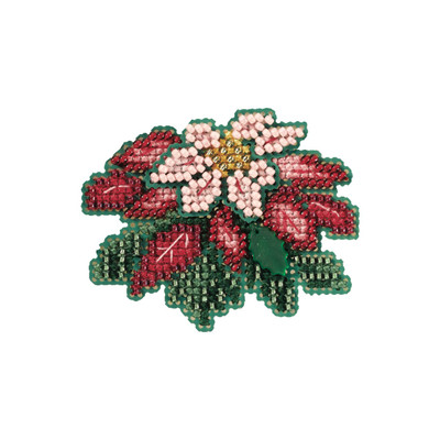 Pink Poinsettia Beaded Ornament Kit Mill Hill 2007 Winter Holiday