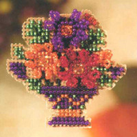 Mum Bouquet Beaded Cross Stitch Kit Mill Hill 2007 Autumn Harvest