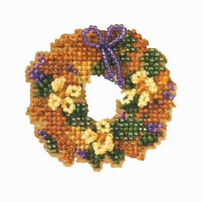 Fall Wreath Beaded Cross Stitch Kit Mill Hill 2007 Autumn Harvest