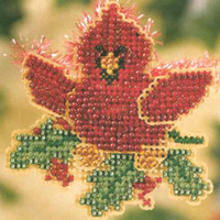 Christmas Cardinal Bead Ornament Kit Mill Hill 2007 Winter Holiday