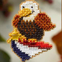 American Eagle Patriotic Bead Kit Mill Hill 2008 Autumn Harvest