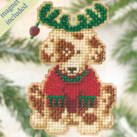 Reindog Bead Cross Stitch Ornament Kit Mill Hill 2009 Winter Holiday