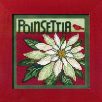 Poinsettia Cross Stitch Kit Mill Hill 2009 Buttons & Beads Winter