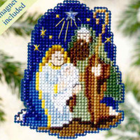 Nativity Bead Cross Stitch Ornament Kit Mill Hill 2009 Winter Holiday