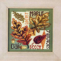 Fall Leaves Cross Stitch Kit Mill Hill 2009 Buttons & Beads Autumn