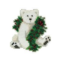 Holiday Polar Bear Beaded Ornament Kit Mill Hill 2010 Winter Holiday