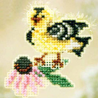 Goldie Finch Beaded Cross Stitch Kit Mill Hill 2010 Spring Bouquet