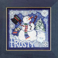 Frosty Snowman Cross Stitch Kit Mill Hill 2010 Buttons & Beads Winter