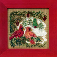 Cardinal Forest Cross Stitch Kit Mill Hill 2010 Buttons & Beads Winter