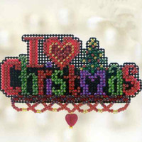 I Love Christmas Beaded Ornament Kit Mill Hill 2012 Winter Holiday