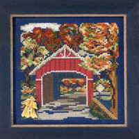 Covered Bridge Cross Stitch Kit Mill Hill 2012 Buttons & Beads Autumn