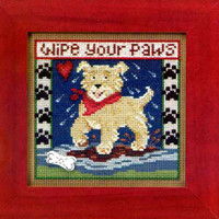 Puppy Paws Cross Stitch Kit Mill Hill 2013 Buttons & Beads Spring