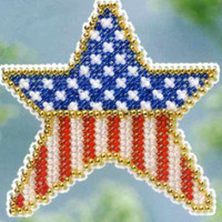 Patriotic Star Beaded Cross Stitch Kit Mill Hill 2013 Spring Bouquet
