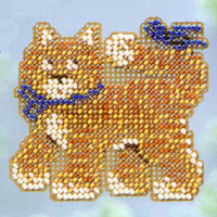 Cool Cat Beaded Cross Stitch Kit Mill Hill 2013 Spring Bouquet