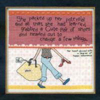 Packed Up Her Potential Cross Stitch Kit Mill Hill Curly Girl 2013