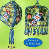 Floral Trellis Beaded Tassel Two Ornaments Kit Mill Hill 2013 Autumn