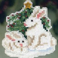 Winter Bunnies Beaded Ornament Kit Mill Hill 2013 Winter Holiday