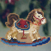Rocking Horse Beaded Ornament Kit Mill Hill 2013 Winter Holiday