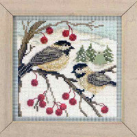 Chickadees Cross Stitch Kit Mill Hill 2013 Buttons & Beads Winter