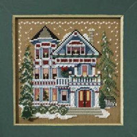 Queen Anne House Cross Stitch Mill Hill 2007 Buttons & Beads Winter