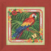 Parrot Cross Stitch Kit Mill Hill 2014 Buttons & Beads Spring
