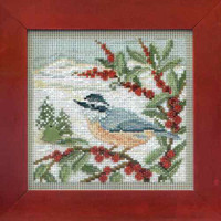 Nuthatch Cross Stitch Kit Mill Hill 2014 Buttons & Beads Winter