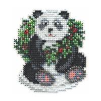 Holiday Panda Beaded Cross Stitch Kit Mill Hill 2014 Winter Holiday