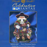 Package insert for Feliz Navidad Santa Ornament Kit Mill Hill 2014 Celebration Santas