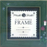 Matte Green with Birdhouse Mill Hill 6 x 6 Wooden Frame GBFRFA13