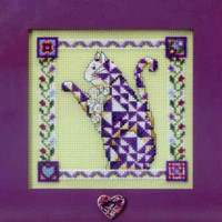 Petunia Beaded Counted Cross Stitch Kit Mill Hill 2008 Jim Shore Quilted Cats