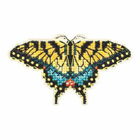 Yellow Swallowtail Cross Stitch Kit Mill Hill 2015 Spring Bouquet MH185104