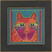Wild Orange Cat Cross Stitch Kit Linen Mill Hill 2015 Laurel Burch LB305101