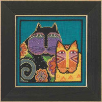 Feline Friends Cross Stitch Kit Linen Mill Hill 2015 Laurel Burch LB305106