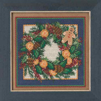 Spiced Wreath Cross Stitch Kit Mill Hill 2015 Buttons & Beads Winter MH145304