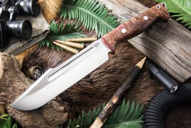 Bark River Knives Bravo TOPE Recon 3V - Jimped - Red and Brown Elder Burl # 2 (Bark River Knives Bravo TOPE Recon 3V - Jimped - Red and Brown Elder Burl # 2)