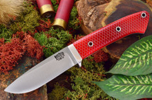 Bark River Knives Classic Drop Point Hunter 3V Red C-Tek - White Liners - Hollow Pins